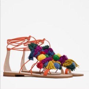 Zara Pom Pom Tie Up Sandals In Size 36